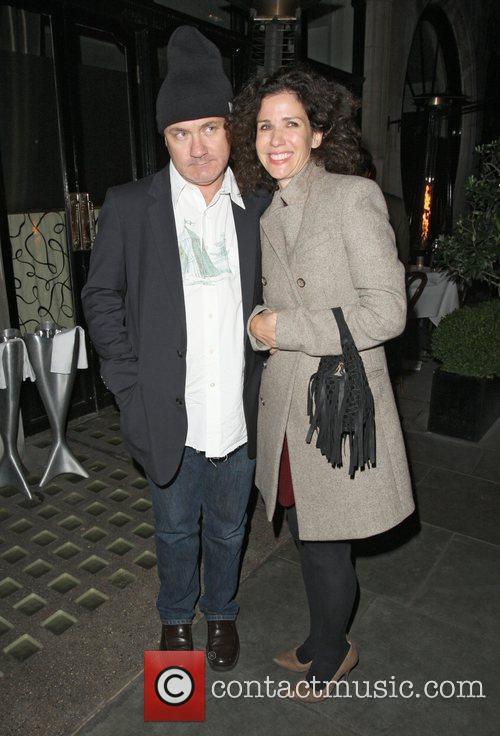 Damien Hirst leaving Scotts restaurant in Mayfair London,...