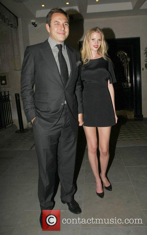 David Walliams and Lara Stone celebrities outside Scott's...