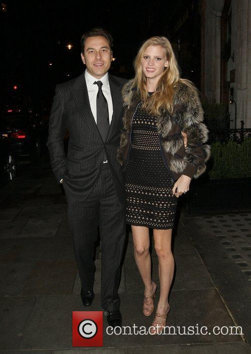 David Walliams and Lara Stone arriving at Scotts...
