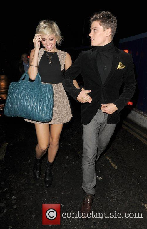 Pixie Lott and her boyfriend Oliver Cheshire leaving...