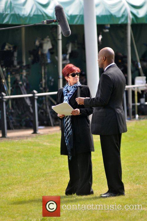 Sharon Osbourne seen filming during preparations of the...