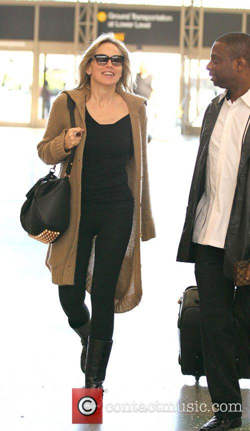 Sharon Stone arrives at LAX to catch an...