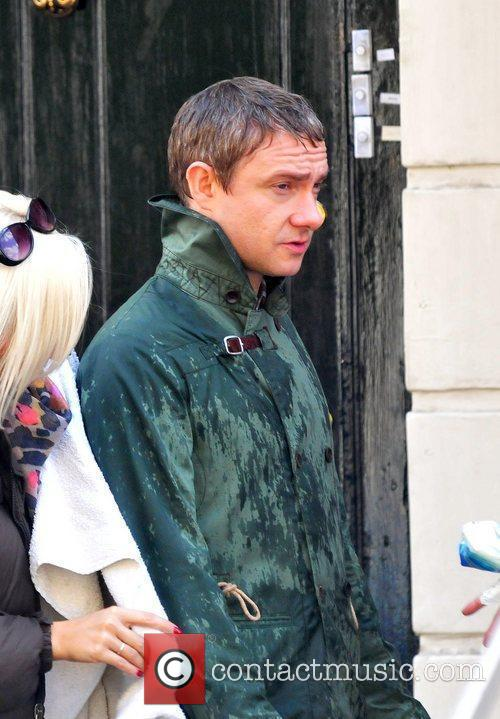 Martin Freeman and Mark Gatiss are seen filming...