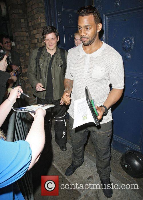 Richard Blackwood and Nigel Harman leave the Theatre...