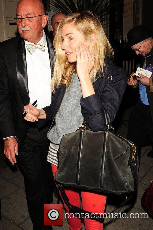 Sienna Miller leaving the Theatre Royal Haymarket after...