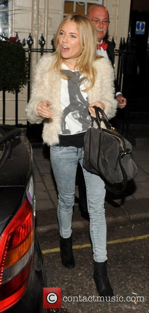 Sienna Miller leaving the Theatre Royal Haymarket where...