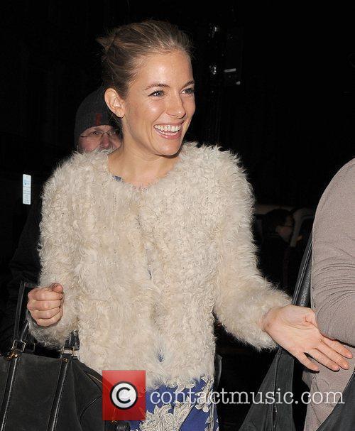 Sienna Miller leaving the Haymarket Theatre, having performed...