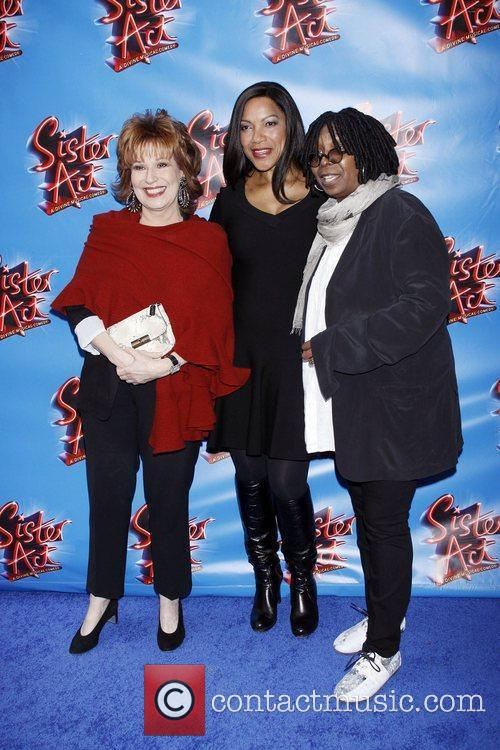 Behar, Goldberg and Grace Hightower at the Broadway opening of Sister Act