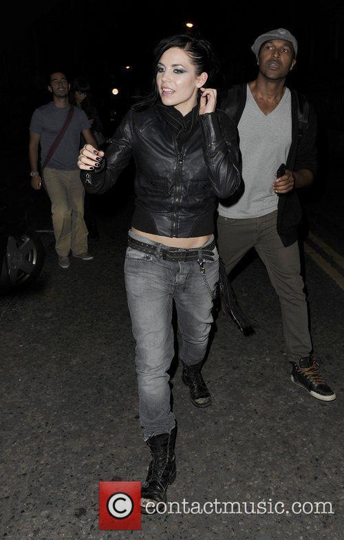 American singer/songwriter, Skylar Grey, is seen leaving XOYO...