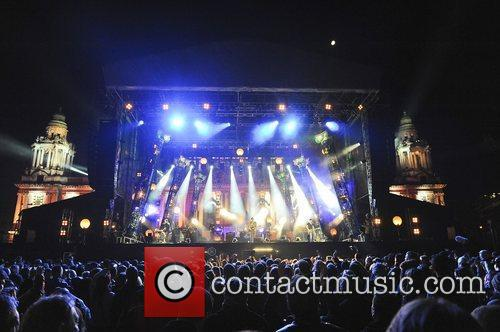 Snow Patrol performs on stage during a rehearsal...