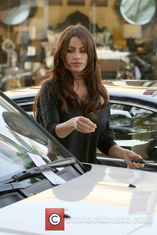 Sofia Vergara arrives at her Range Rover parked...