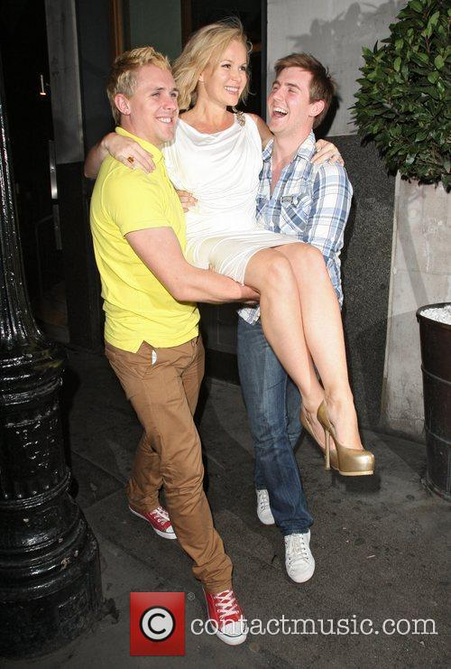 Amanda Holden is carried out of Sophie`s Steakhouse...