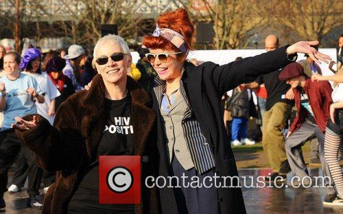 Celebrities dance the 'Soul Train' to celebrate the...