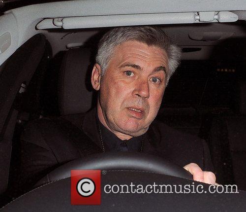 Chelsea FC manager Carlo Ancelotti leaving Stamford Bridge,...