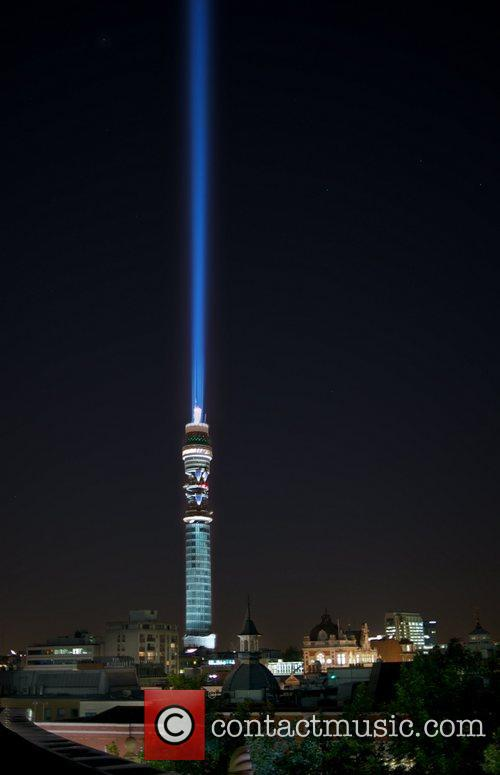 BT Tower becomes the world's largest light saber...