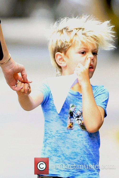 Kingston Rossdale picks his nose while in Primrose...