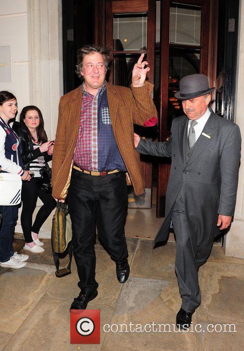 Stephen Fry leaving the Lanesborough Hotel London, England