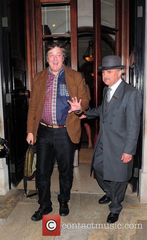 Stephen Fry leaving the Lanesborough Hotel