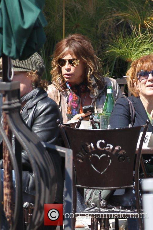 Steven Tyler eating lunch at Urth Caffe with...