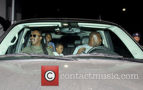 Stevie Wonder and family members are seen leaving...