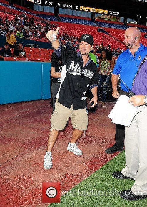 Christian Slater attends the Florida Marlins Vs. The...