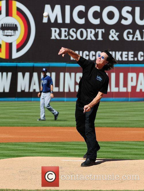 John Cowsill throws first pitch at the Florida...