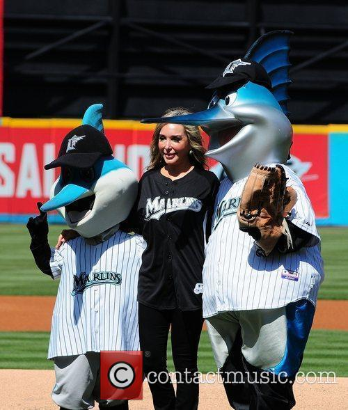 Marysol Patton throws first pitch at the Florida...