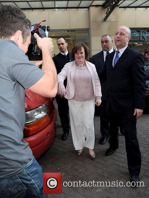 Susan Boyle leaving Blackpool Tower after unveiling her...