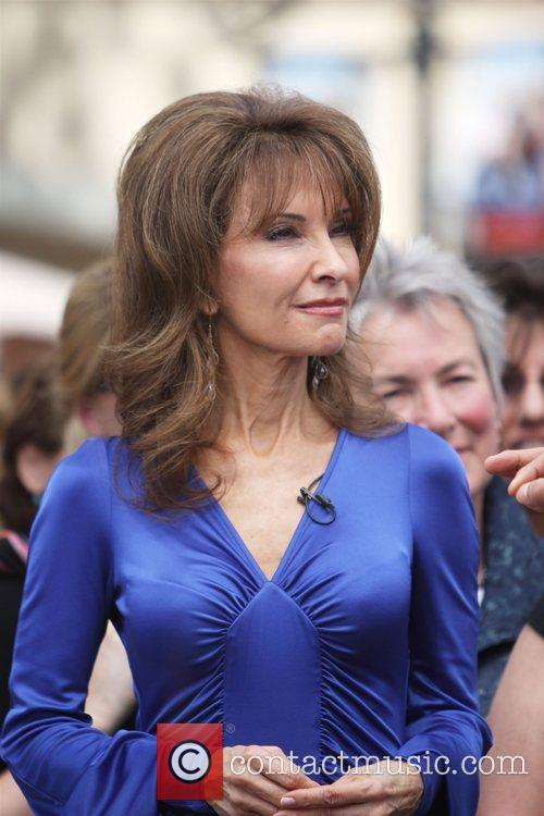 Actress Susan Lucci filming an interview for the...