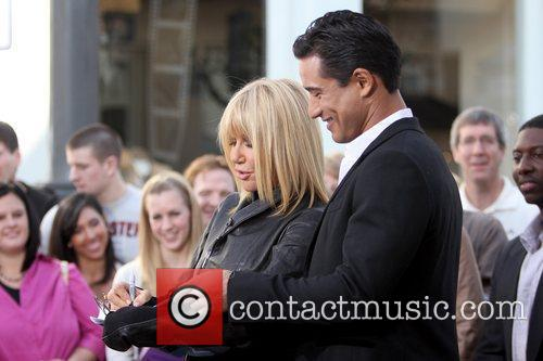 Suzanne Somers and Mario Lopez Suzanne Somers filming...