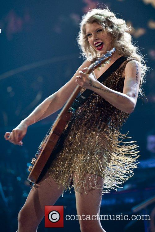 Taylor Swift performs during the Speak Now World...