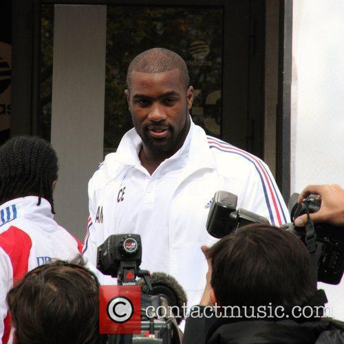 Teddy Riner  arrives at the Adidas Store...