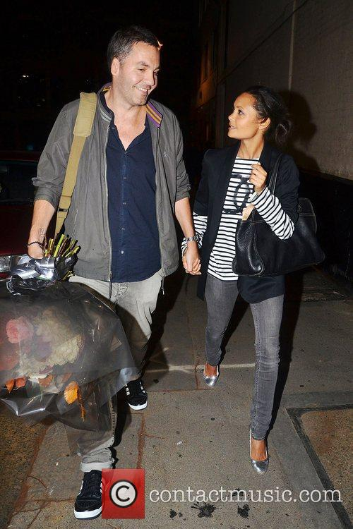 Thandie Newton with her husband Ol Parker leaving...