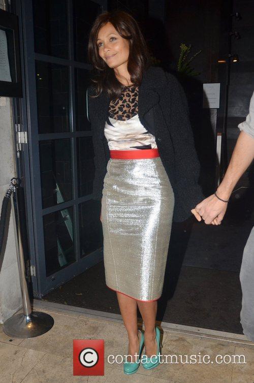 Thandie Newton leaving 'Mint Leaf' in Haymarket after...