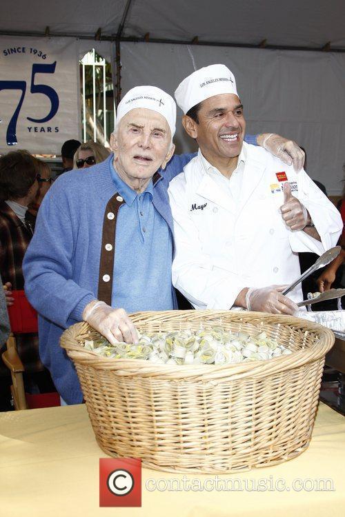 Kirk Douglas and Antonio Villaraigosa  75th anniversary...