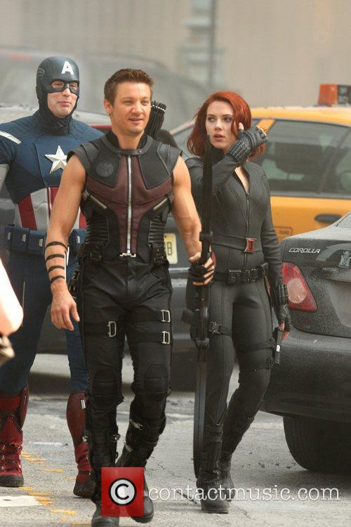 Chris Evans, Jeremy Renner and Scarlett Johansson 1