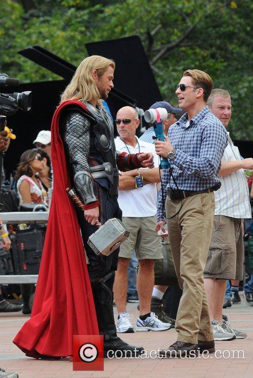Chris Hemsworth and Chris Evans  on the...