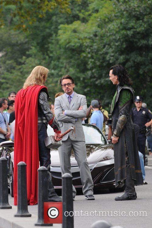 Chris Hemsworth, Robert Downey Jr. and Tom Hiddleston...