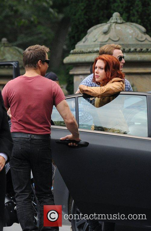 Jeremy Renner and Scarlett Johansson  on the...