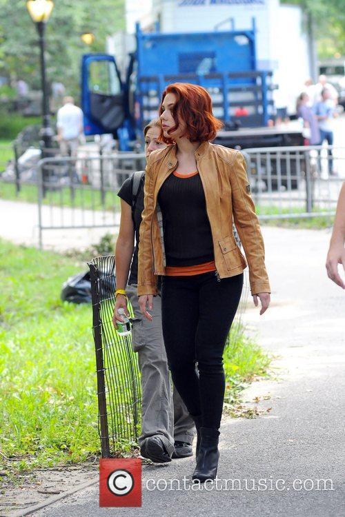 Scarlett Johanson  on the film set of...