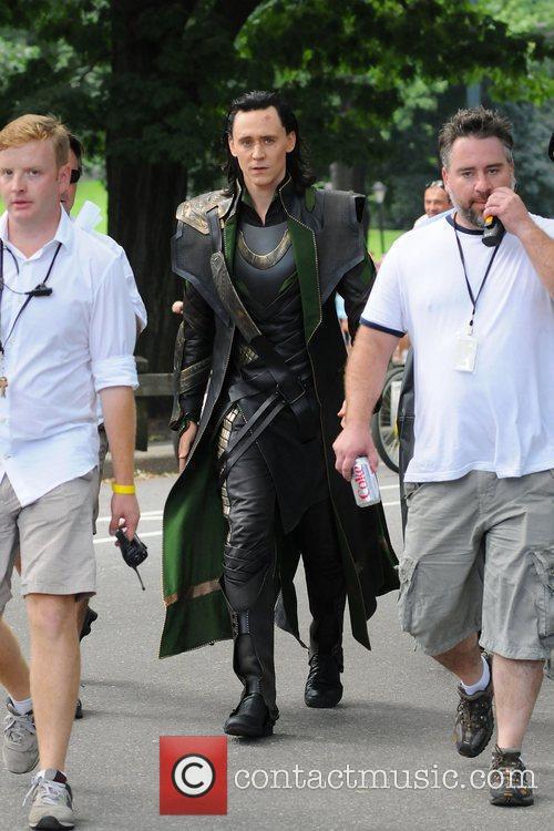 Tom Hiddleston  on the film set of...