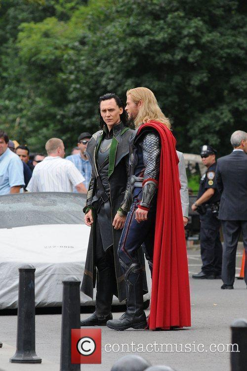 On the film set of 'The Avengers', shooting...