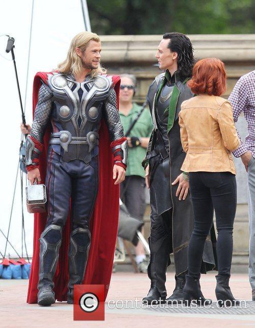 Chris Hemsworth and Tom Hiddleston  on the...