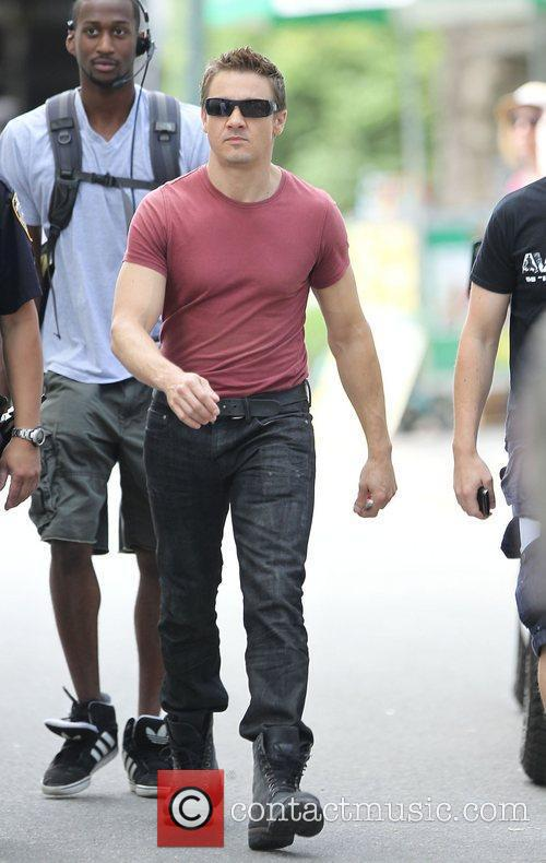 Jeremy Renner  on the set of 'The...