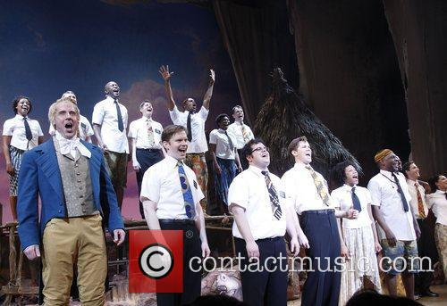 Josh Gad, Andrew Rannells and cast Opening night...