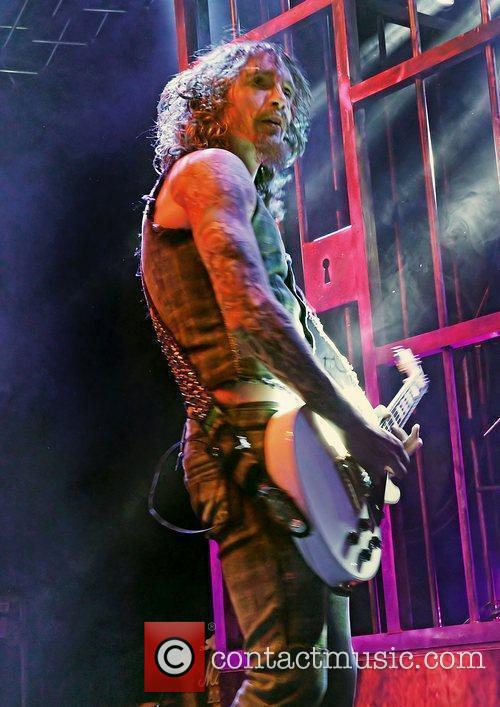Justin Hawkins of The Darkness performing the first...