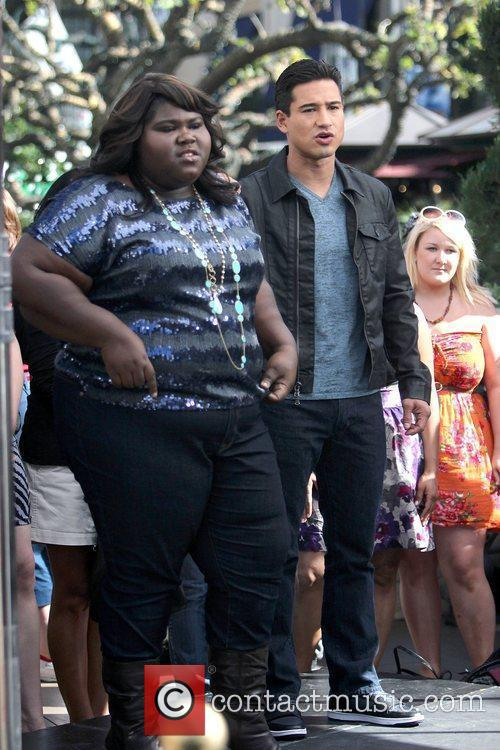 Gabourey Sidibe and Mario Lopez at The Grove...