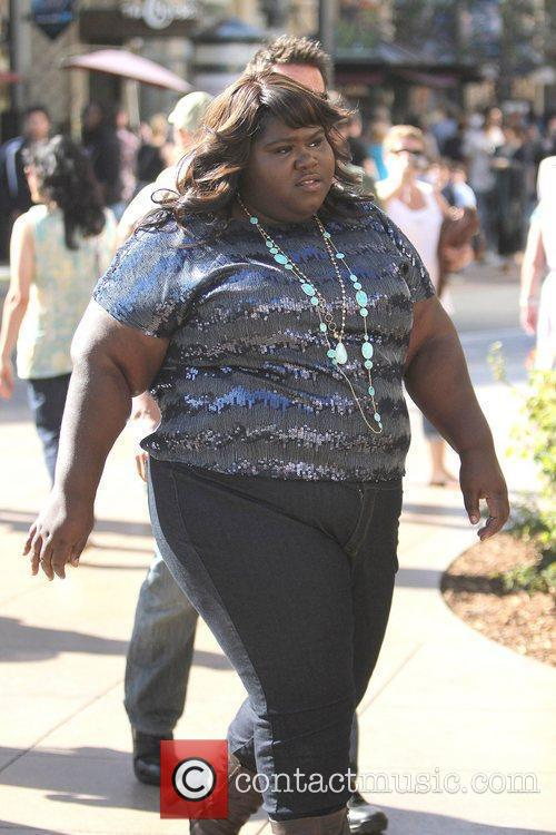 Gabourey Sidibe at The Grove to film an...