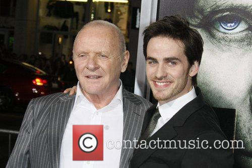 Actors Colin O'Donoghue (r) and Anthony Hopkins...