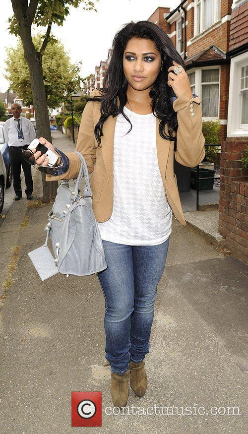 Vanessa White from girl group The Saturdays leaving...